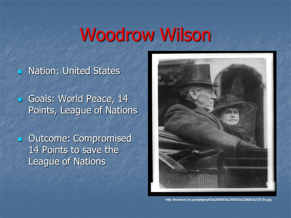 Woodrow Wilson Nation: United States
