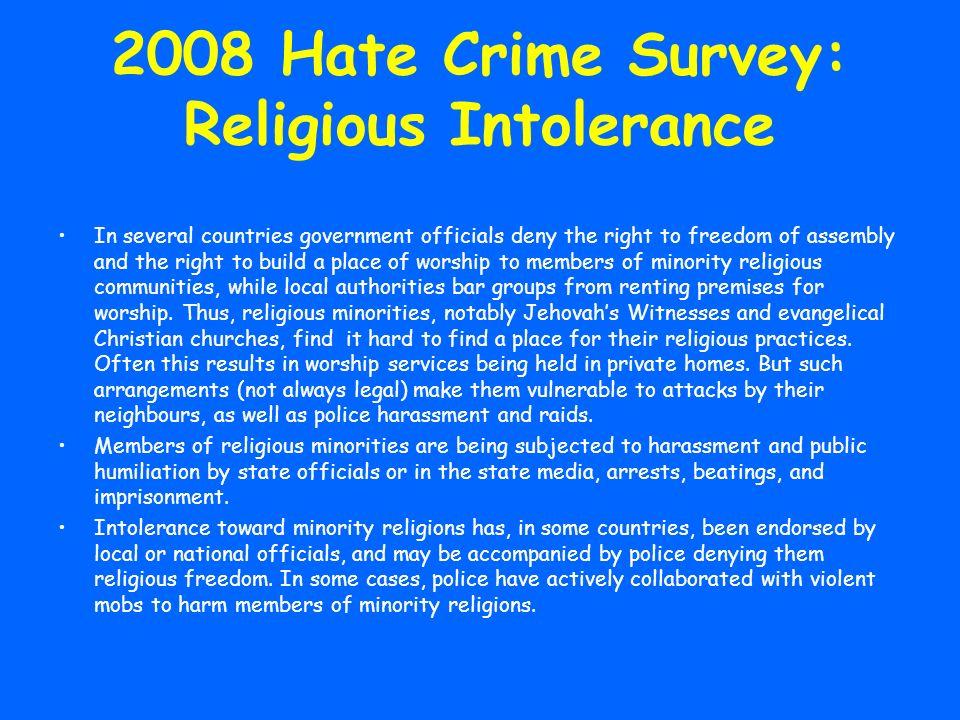 2008 Hate Crime Survey: Religious Intolerance