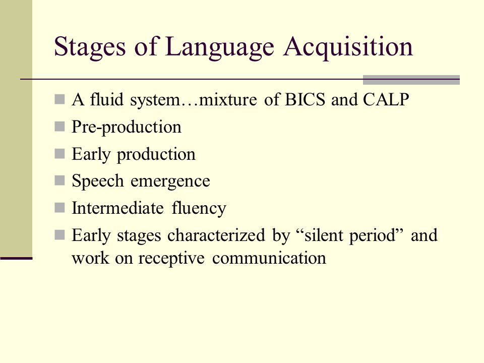 Stages of Language Acquisition