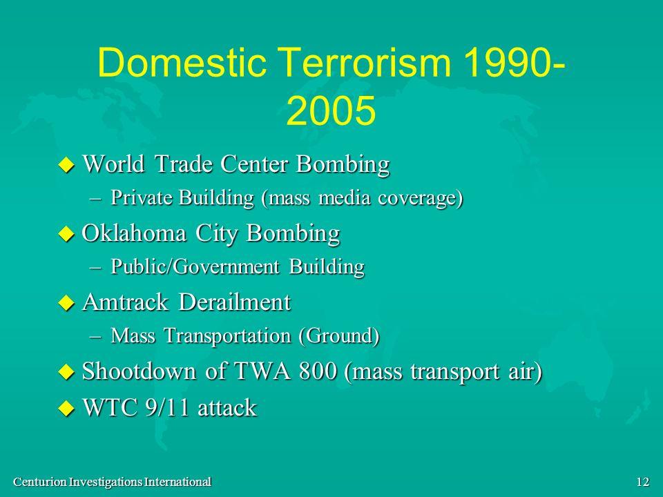 Domestic Terrorism 1990-2005 World Trade Center Bombing