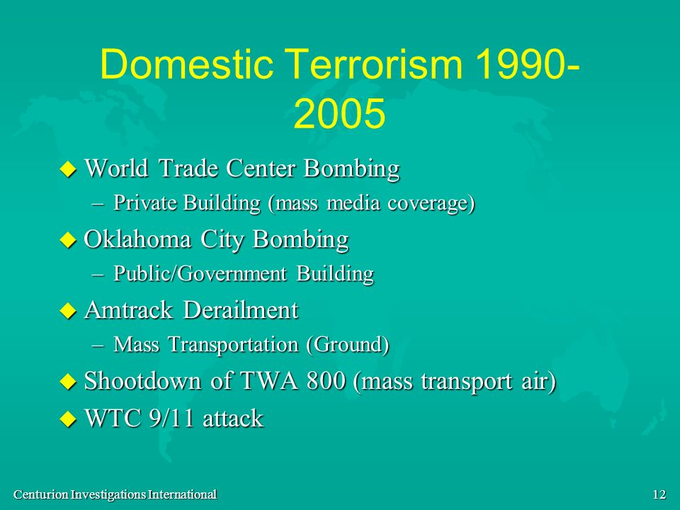 Domestic Terrorism World Trade Center Bombing