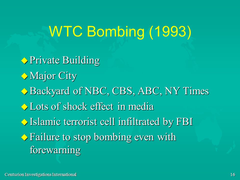 WTC Bombing (1993) Private Building Major City