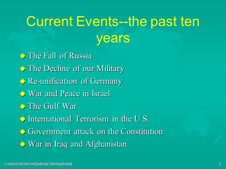 Current Events--the past ten years