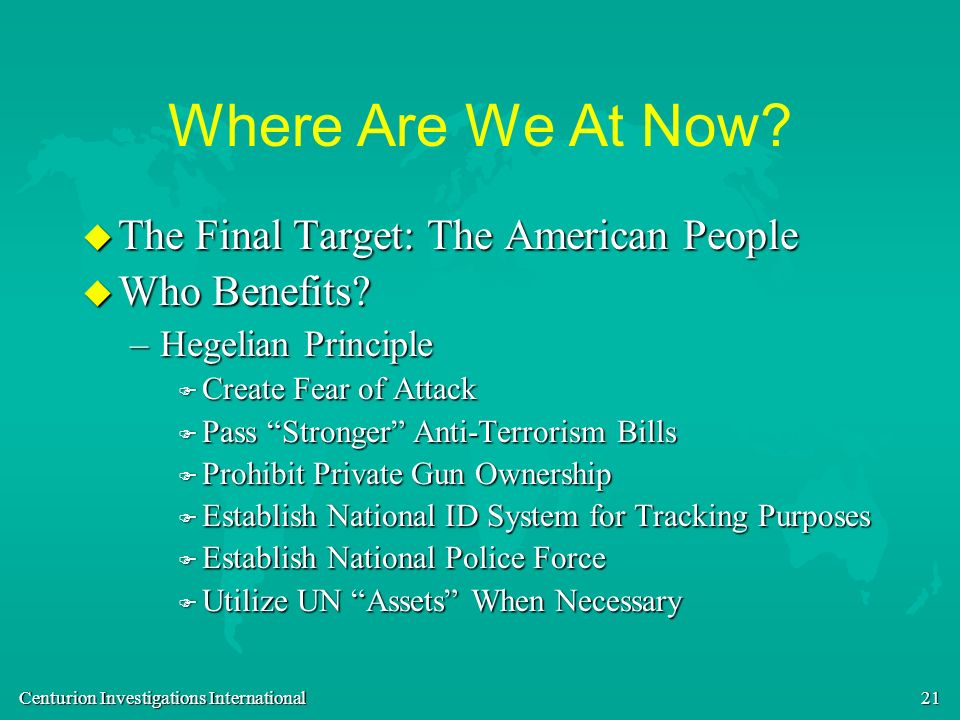 Where Are We At Now The Final Target: The American People