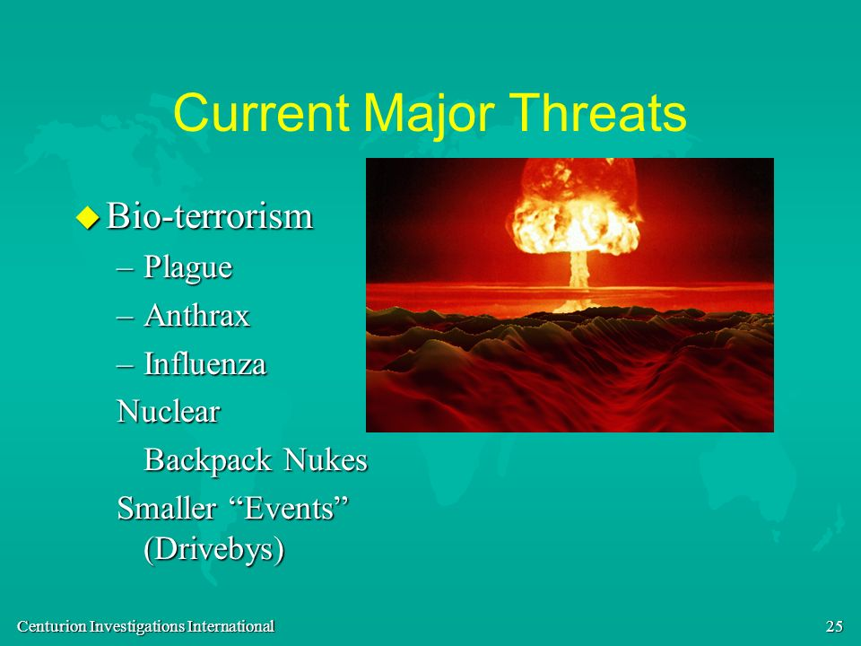 Current Major Threats Bio-terrorism Plague Anthrax Influenza Nuclear
