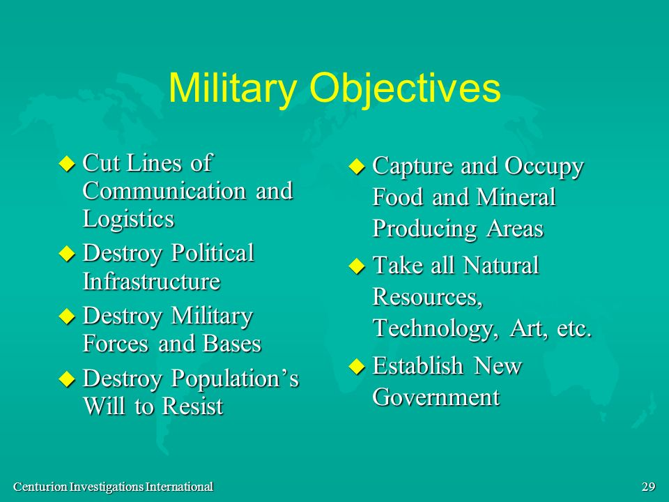 Military Objectives Cut Lines of Communication and Logistics