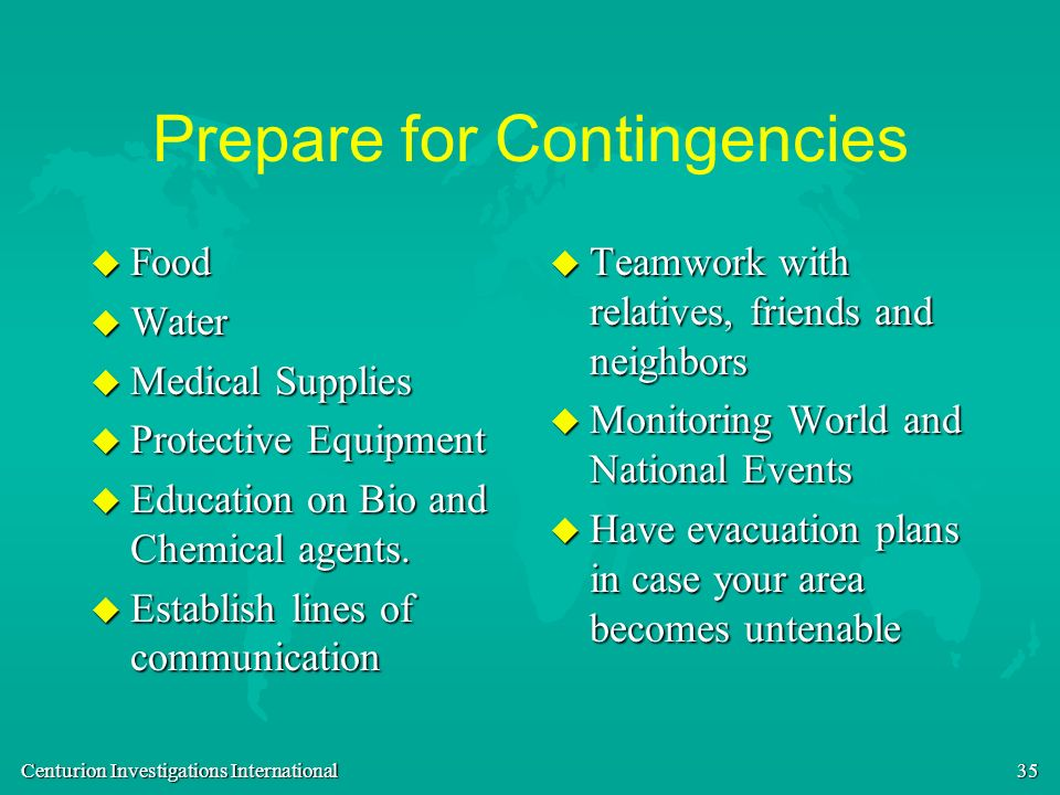 Prepare for Contingencies