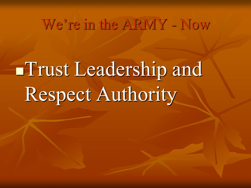 Trust Leadership and Respect Authority