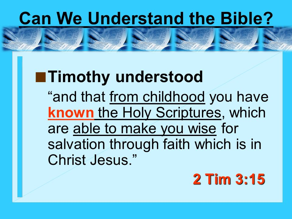 Can We Understand the Bible