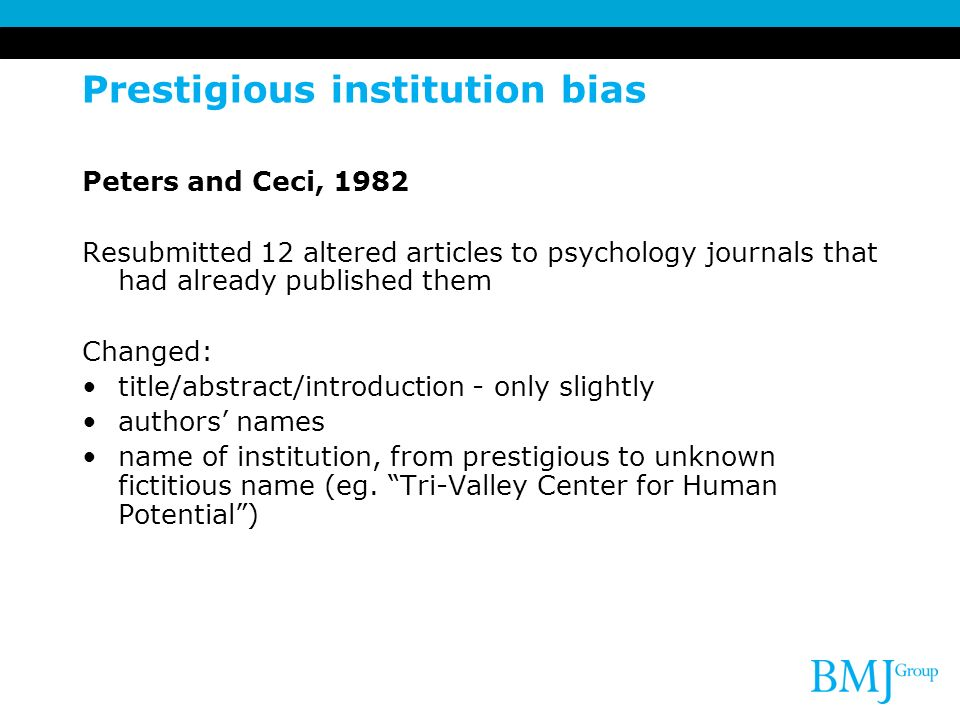 Prestigious institution bias