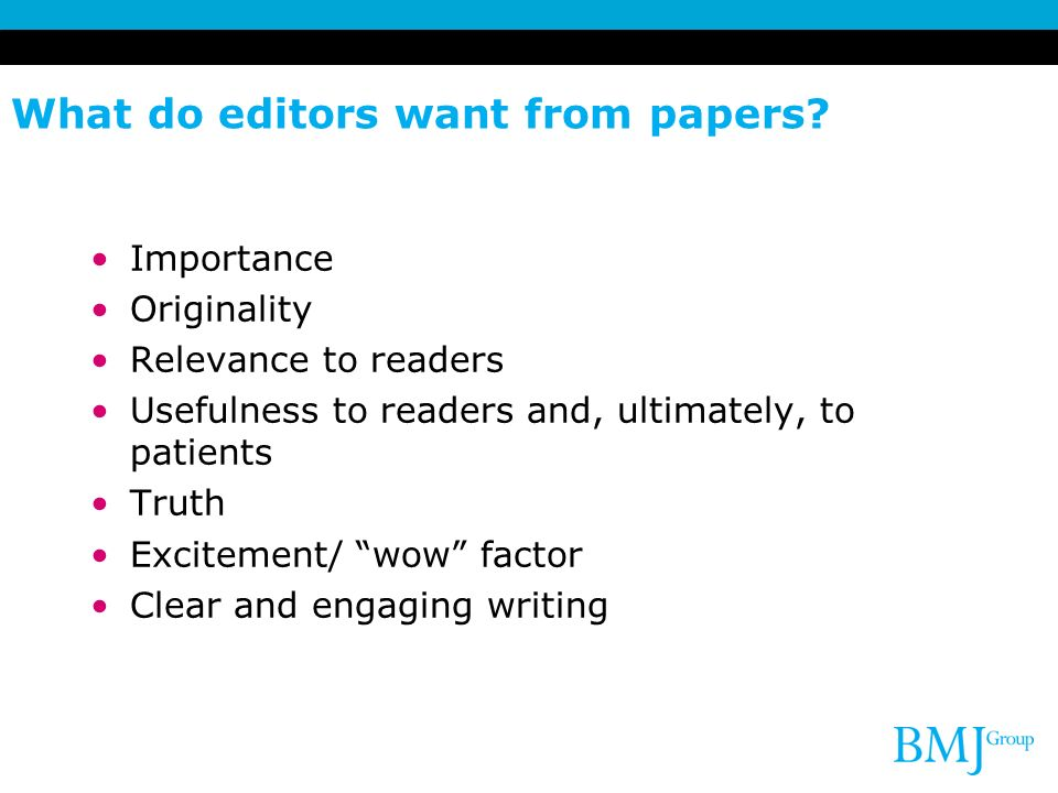 What do editors want from papers