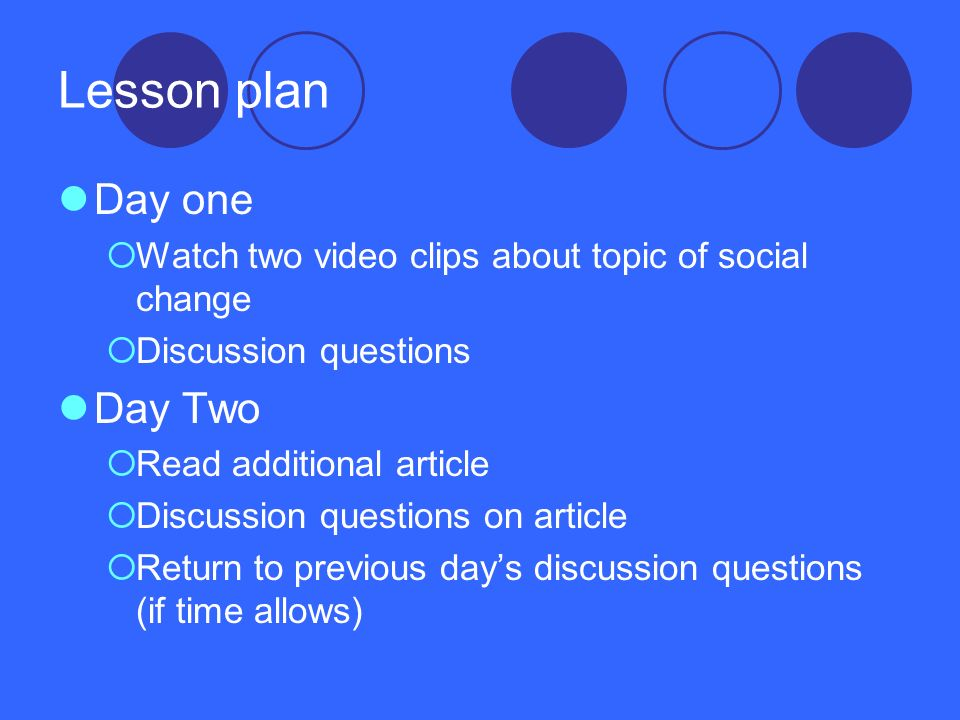 Lesson plan Day one Day Two