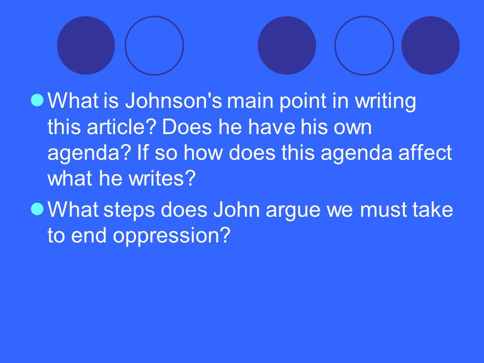 What is Johnson s main point in writing this article
