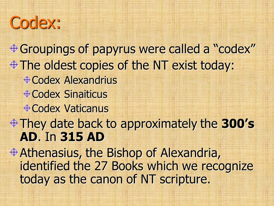 Codex: Groupings of papyrus were called a codex