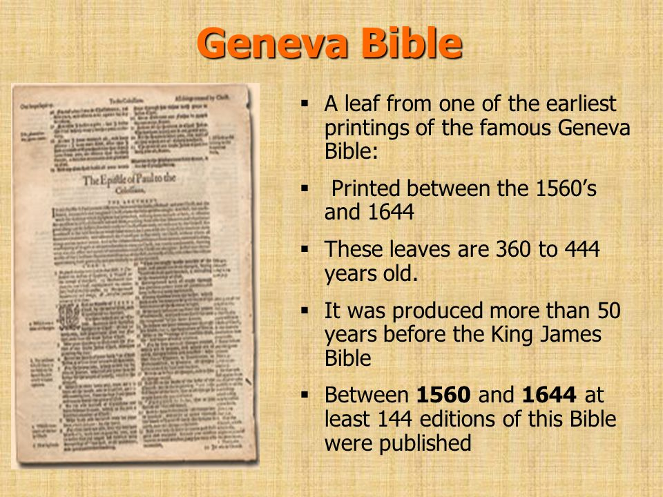 Geneva Bible A leaf from one of the earliest printings of the famous Geneva Bible: Printed between the 1560's and 1644.