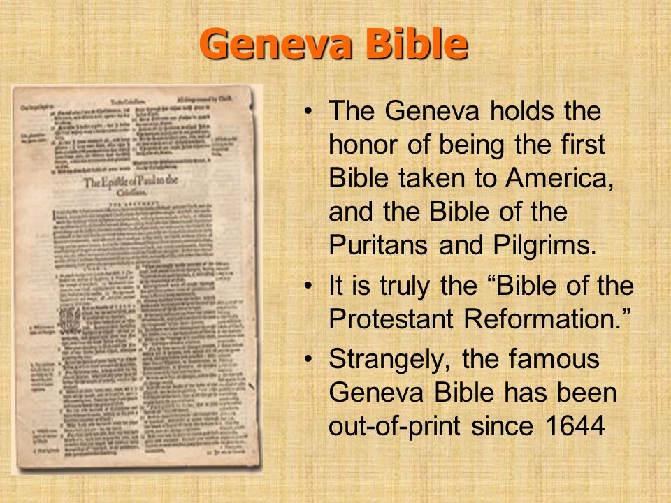 Geneva Bible The Geneva holds the honor of being the first Bible taken to America, and the Bible of the Puritans and Pilgrims.