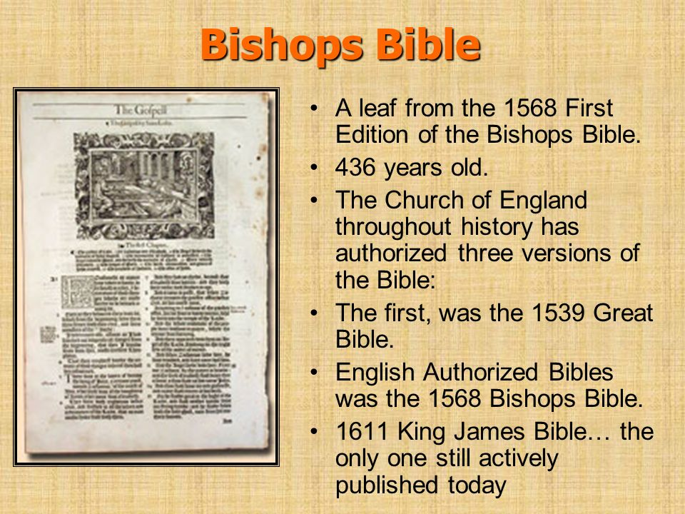 Bishops Bible A leaf from the 1568 First Edition of the Bishops Bible.
