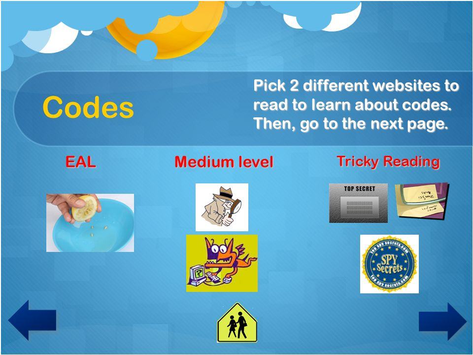 Codes Pick 2 different websites to read to learn about codes. Then, go to the next page. EAL. Medium level.