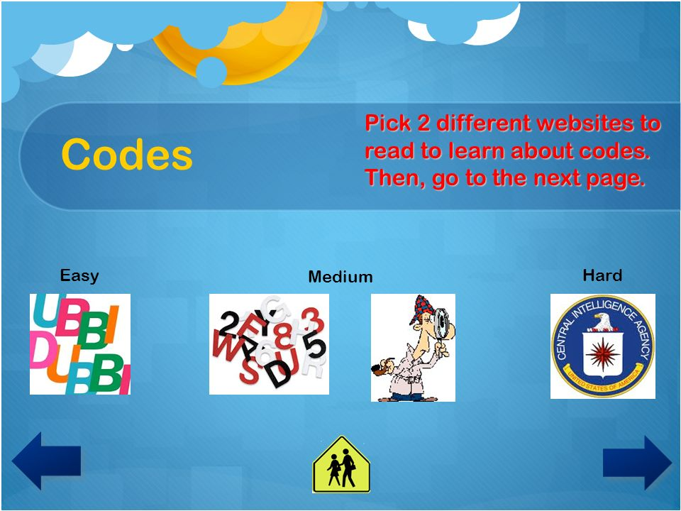 Codes Pick 2 different websites to read to learn about codes. Then, go to the next page. Easy. Medium.