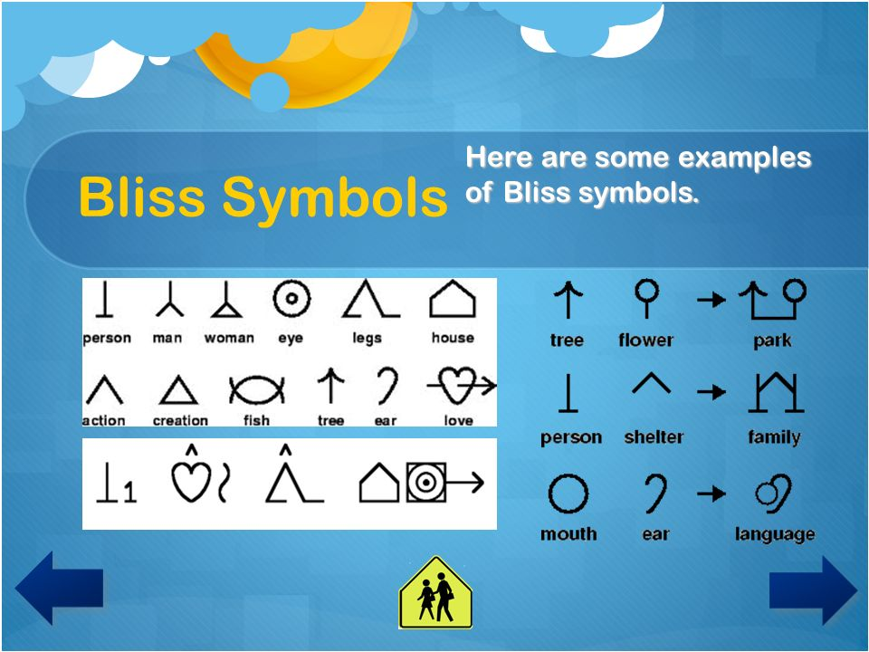 Bliss Symbols Here are some examples of Bliss symbols.