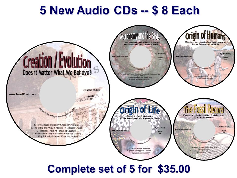 5 New Audio CDs -- $ 8 Each Complete set of 5 for $35.00