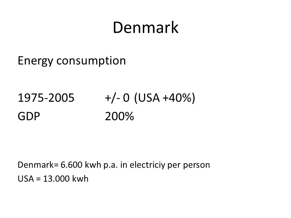 Denmark Energy consumption /- 0 (USA +40%) GDP 200%