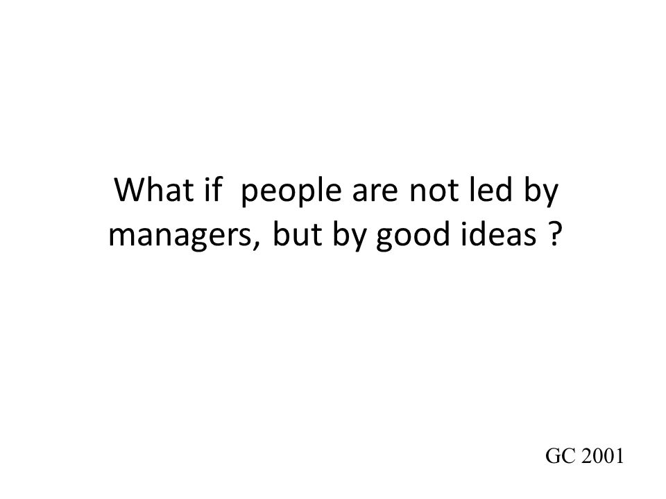 What if people are not led by managers, but by good ideas