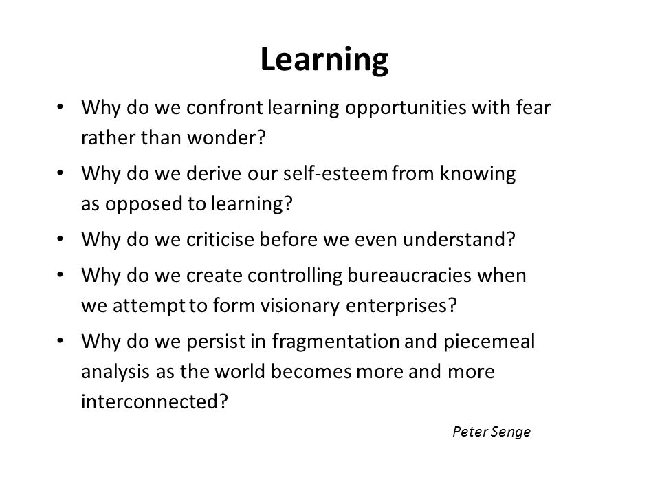Learning Why do we confront learning opportunities with fear rather than wonder