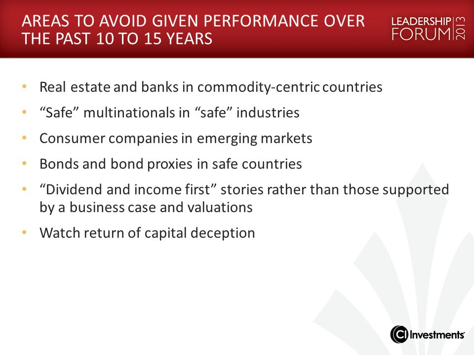 AREAS TO AVOID GIVEN PERFORMANCE OVER THE PAST 10 TO 15 YEARS