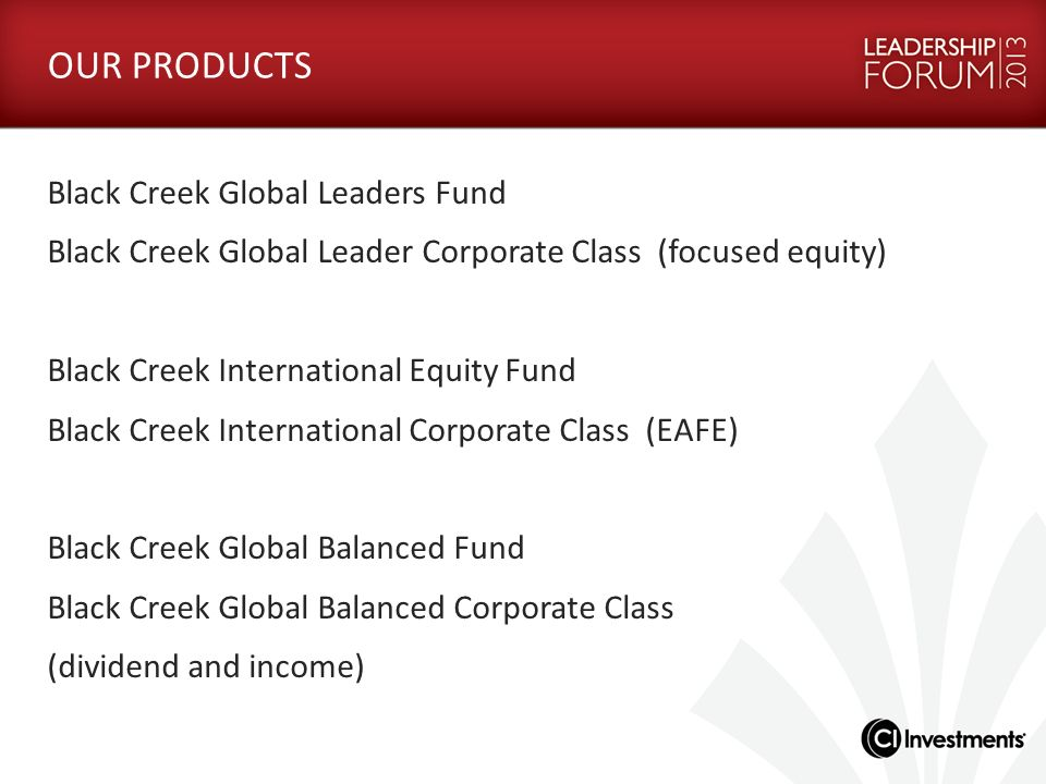 OUR PRODUCTS Black Creek Global Leaders Fund