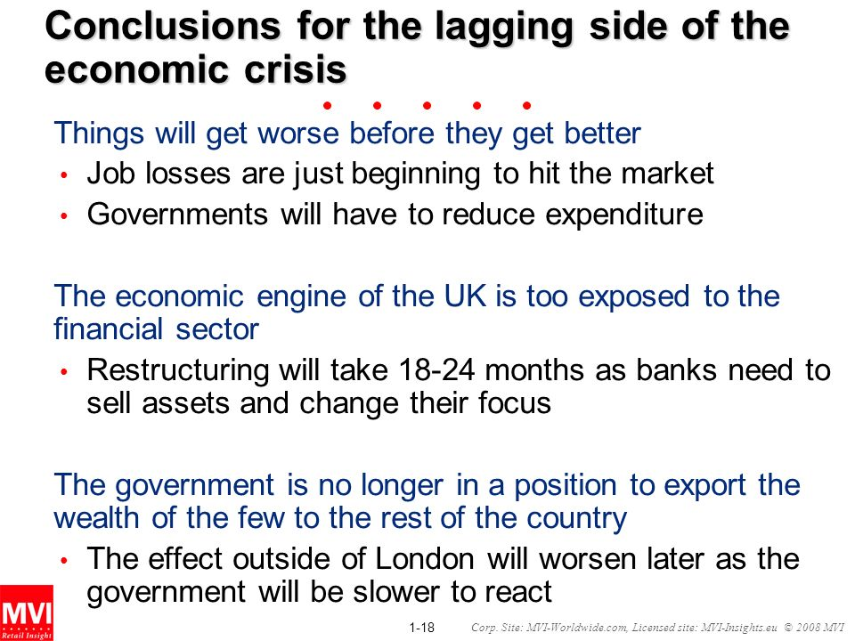 Conclusions for the lagging side of the economic crisis