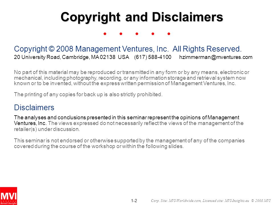 Copyright and Disclaimers