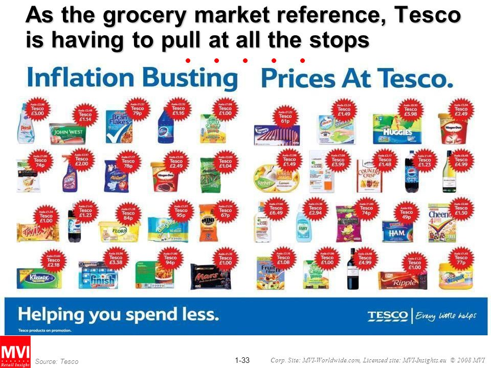 As the grocery market reference, Tesco is having to pull at all the stops