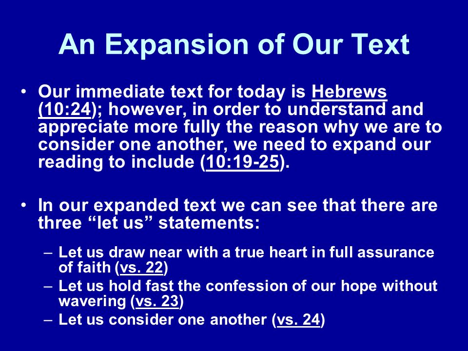 An Expansion of Our Text