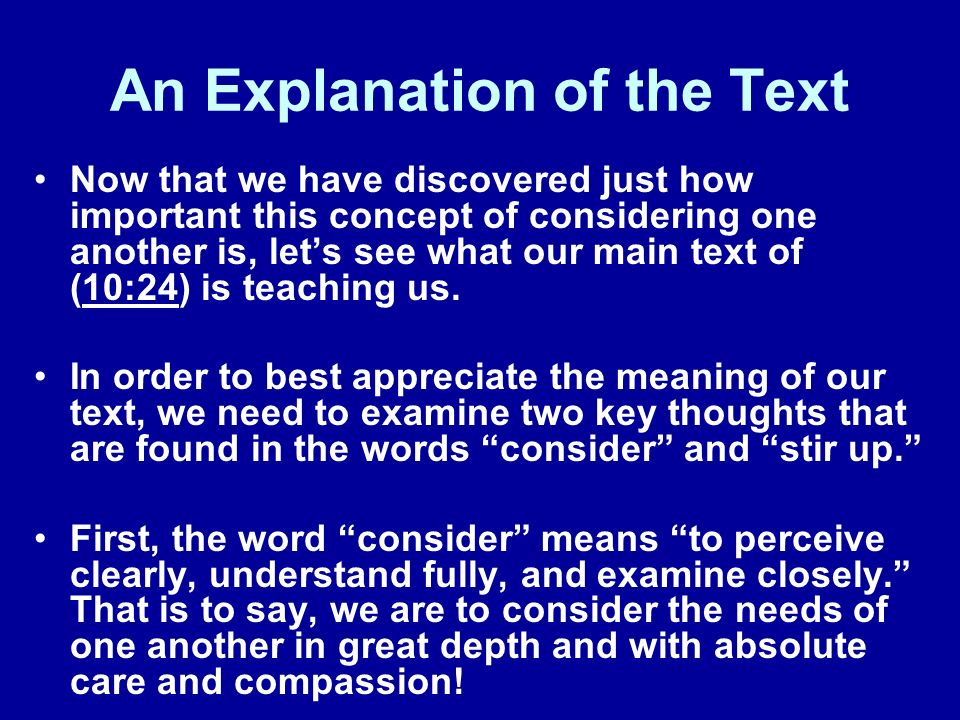 An Explanation of the Text