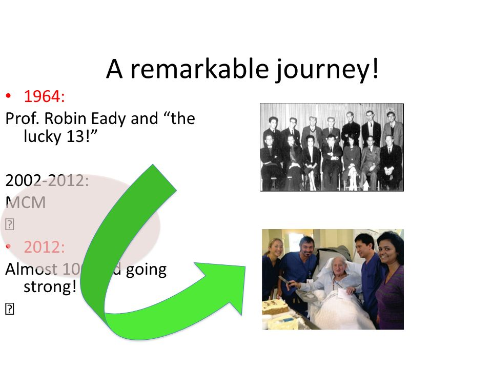 A remarkable journey! 1964: Prof. Robin Eady and the lucky 13!