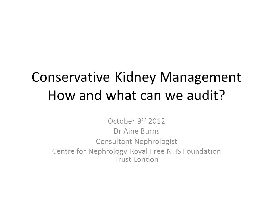 Conservative Kidney Management How and what can we audit
