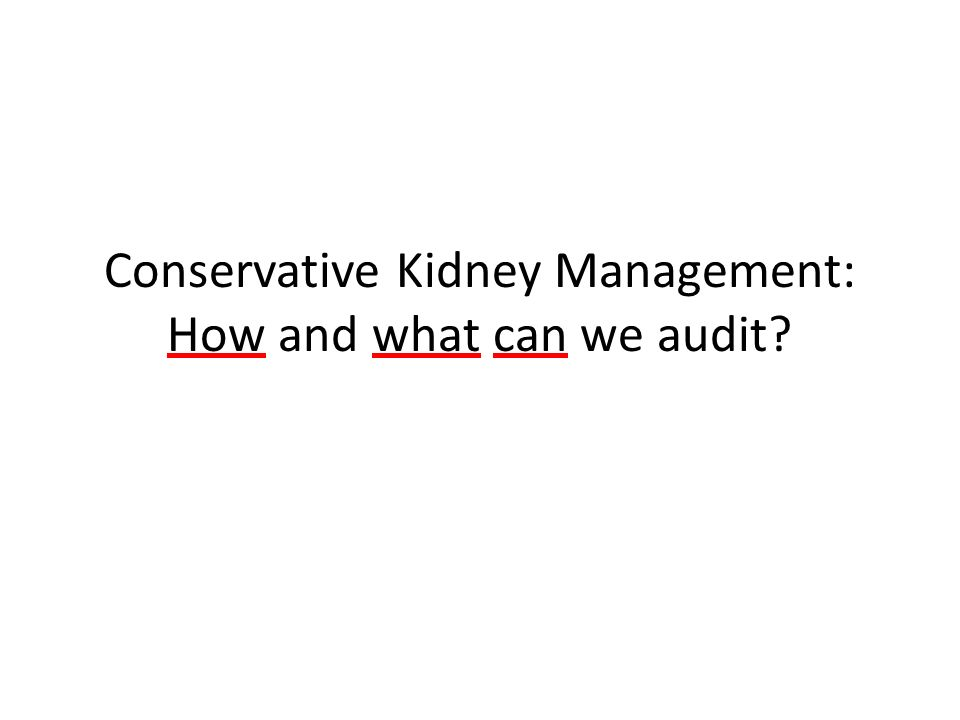 Conservative Kidney Management: How and what can we audit