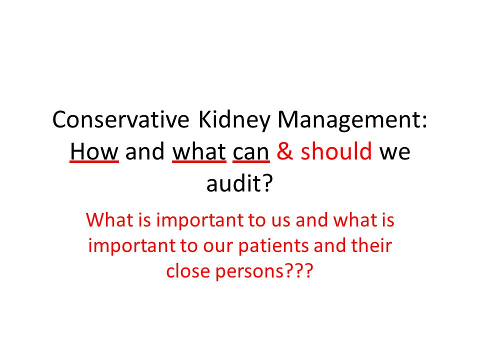 Conservative Kidney Management: How and what can & should we audit