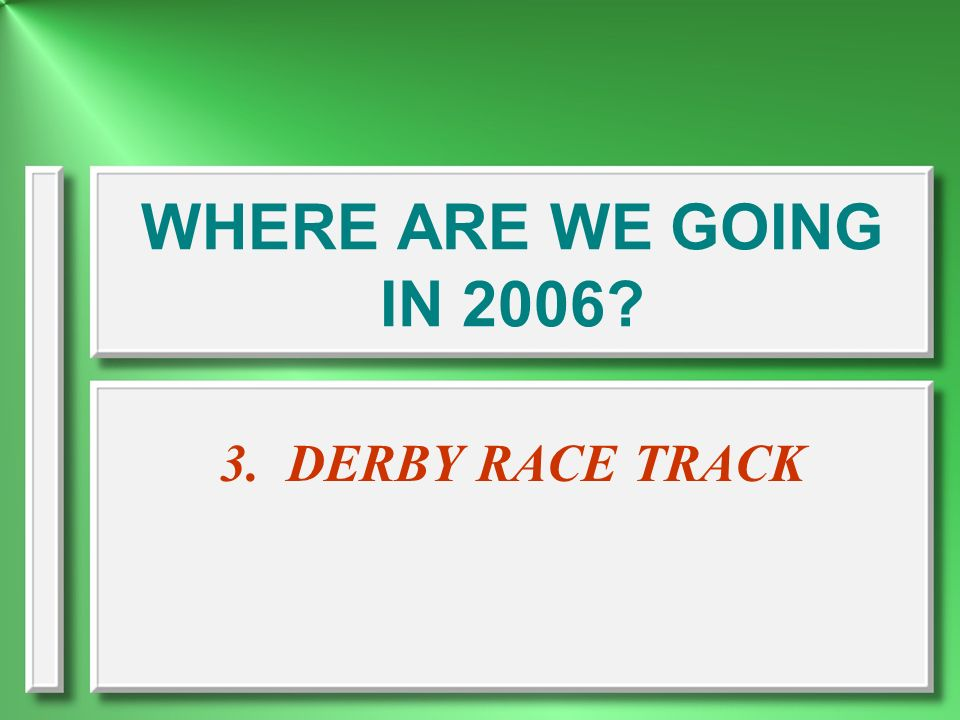 WHERE ARE WE GOING IN DERBY RACE TRACK