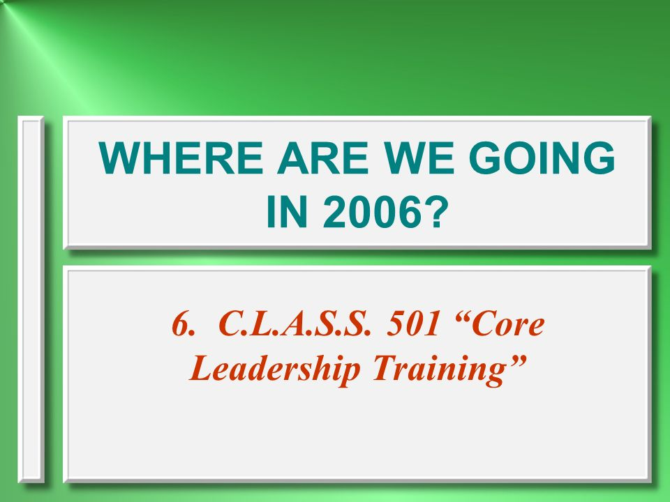 6. C.L.A.S.S. 501 Core Leadership Training