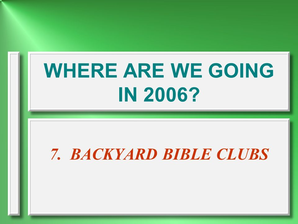 WHERE ARE WE GOING IN 2006 7. BACKYARD BIBLE CLUBS