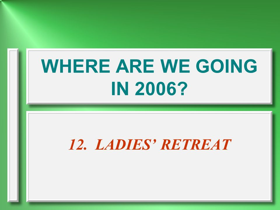 WHERE ARE WE GOING IN 2006 12. LADIES' RETREAT
