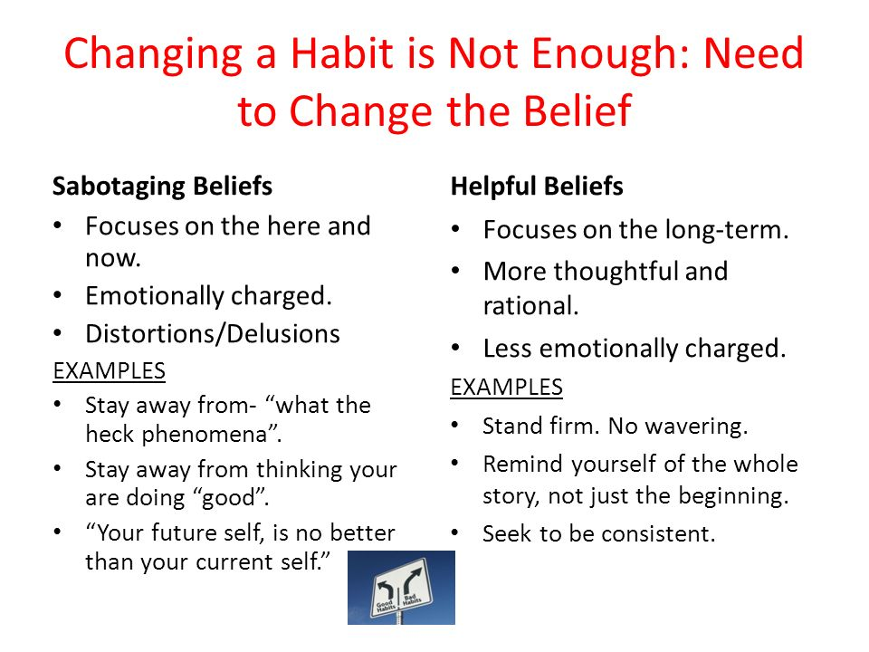 Changing a Habit is Not Enough: Need to Change the Belief