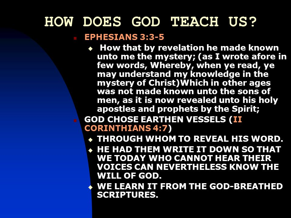 HOW DOES GOD TEACH US EPHESIANS 3:3-5