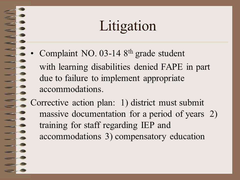 Litigation Complaint NO. 03-14 8th grade student