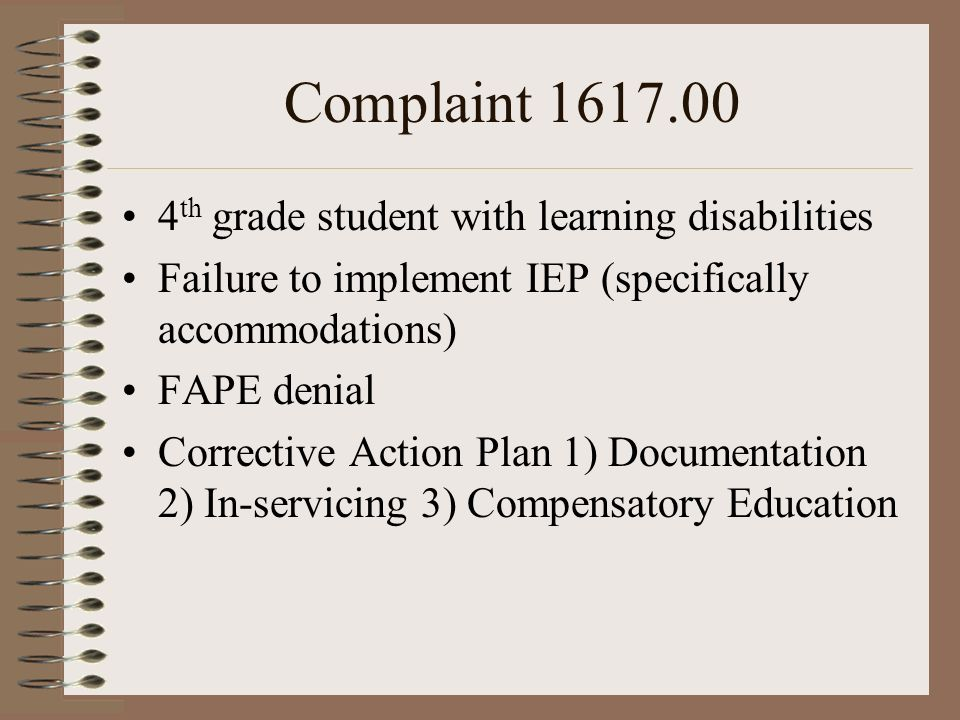 Complaint 1617.00 4th grade student with learning disabilities