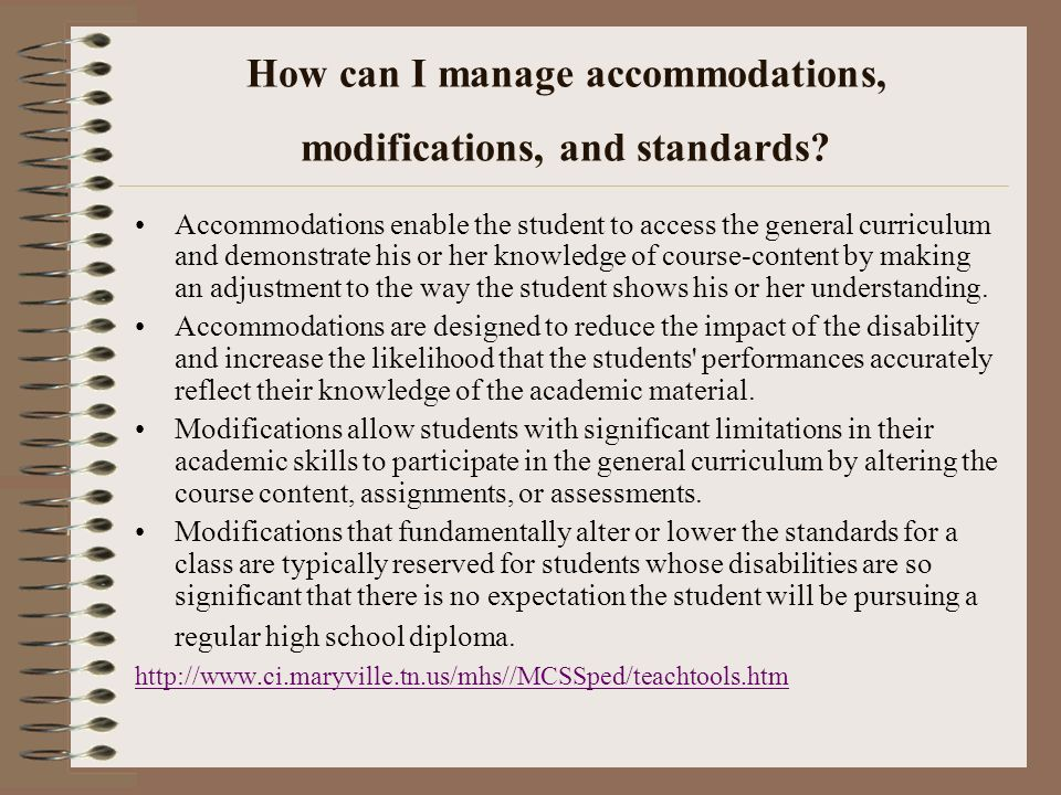 How can I manage accommodations, modifications, and standards