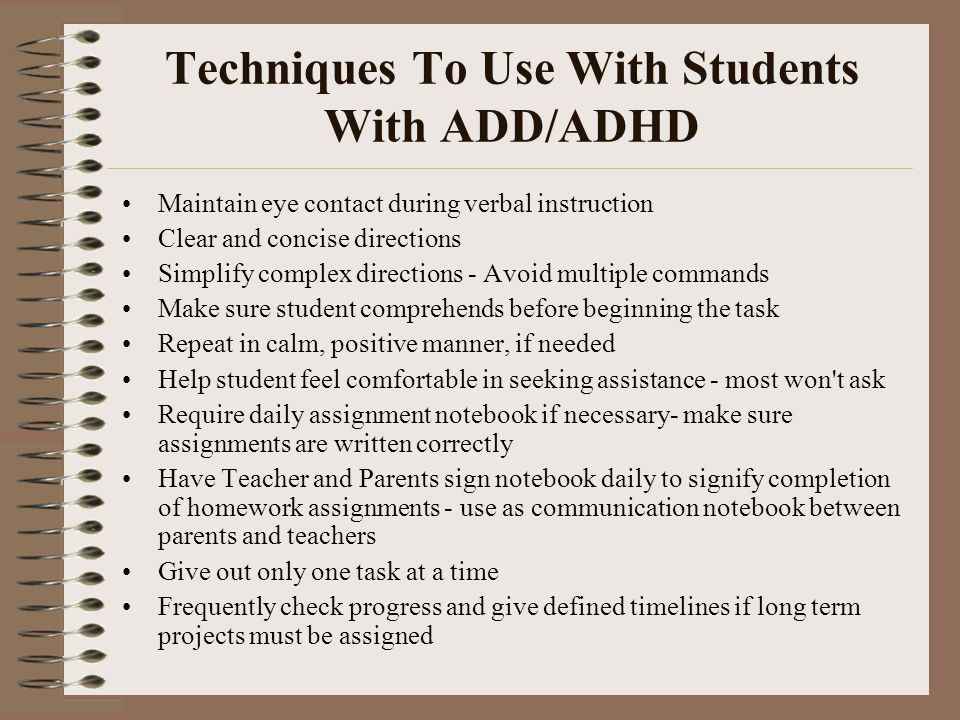 Techniques To Use With Students With ADD/ADHD