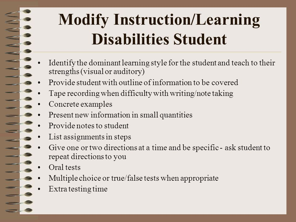 Modify Instruction/Learning Disabilities Student